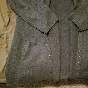 Style & Co Sweaters - Long grey hooded cardigan